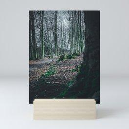 Moss Covered Tree Stump Hiking Path Forest dark Mini Art Print