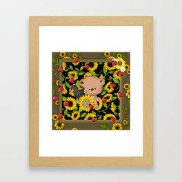 Rustic Sunflowers Bear And Black Crow Ladybugs Framed Art Print