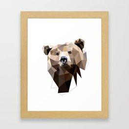 Bear geometric art Grizzly Woodland animals Framed Art Print