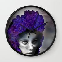 madonna Wall Clocks featuring Schwarze Madonna by Mirko Richter Grafik
