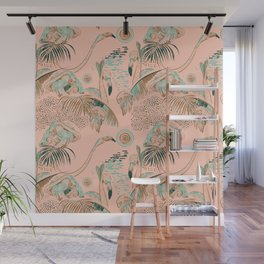 Flamingos in linocut look Wall Mural