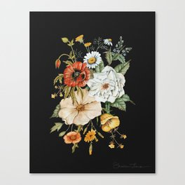 Wildflower Bouquet on Charcoal Canvas Print