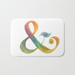 ampersand - in watercolor rainbow Bath Mat