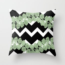 Blkwhtchevronstripeleafvine Throw Pillow