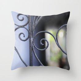 Charleston Blue Wrought Iron Throw Pillow