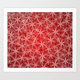 Snowflakes pattern on red background Art Print