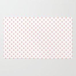 Blush Pink Stars on White Rug