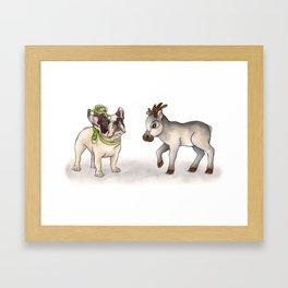 Bubba, Monkey Toy & Reindeer Framed Art Print