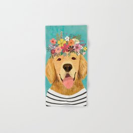 Golden Retriever Dog with Floral Crown Art Print – Funny Decoration Gift – Cute Room Decor – Poster Hand & Bath Towel