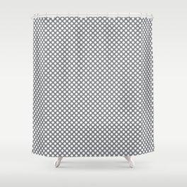Sharkskin and White Polka Dots Shower Curtain