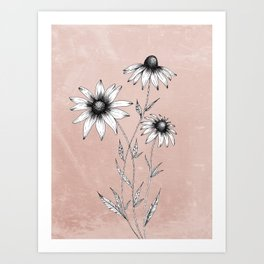 Wildflowers Ink Drawing   Dusty Pink Art Print