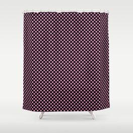 Black and Fuchsia Pink Polka Dots Shower Curtain