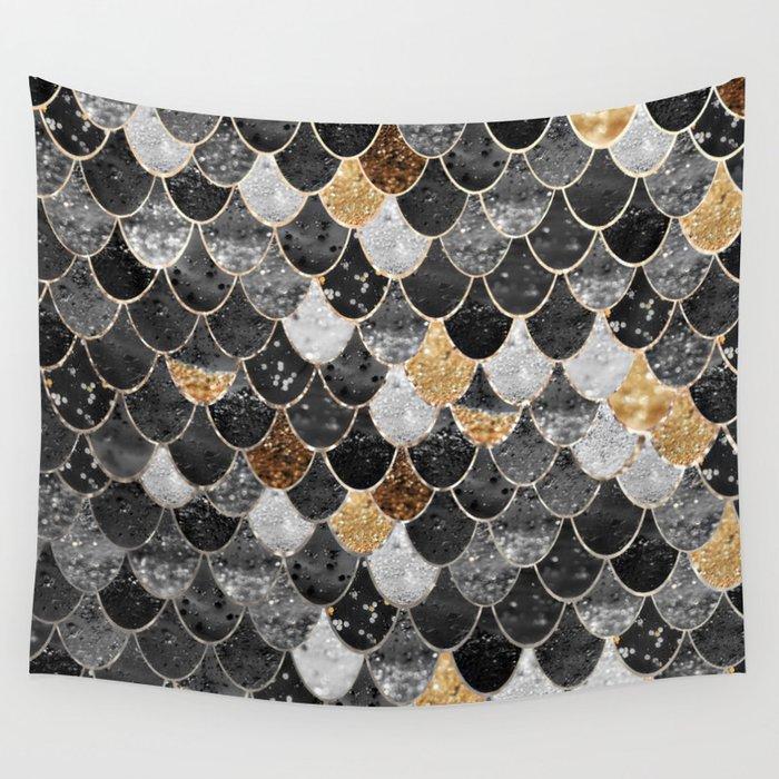 REALLY MERMAID BLACK GOLD Wall Tapestry