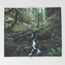 California Redwood Rainforest - Nature Photography Throw Blanket