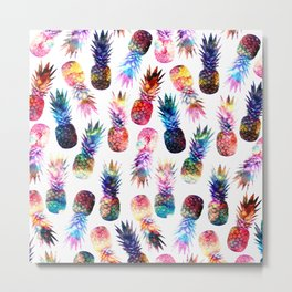 watercolor and nebula pineapples illustration pattern Metal Print