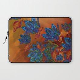 """Blue flowers on orange silk"" (Air Spring at night) Laptop Sleeve"