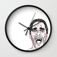 american psycho Wall Clocks featuring American Psycho. by Saul Art