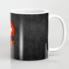 Flag of Switzerland on a Chaotic Splatter Skull Coffee Mug