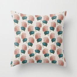 Redoute Hydrangea Throw Pillow