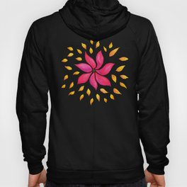 Whimsical Watercolor Flower In Pink And Purple Hoody