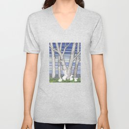 nuthatches, bunnies, and birches Unisex V-Neck