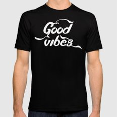 good vibes Black MEDIUM Mens Fitted Tee