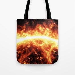 Sun surface with solar flares Tote Bag