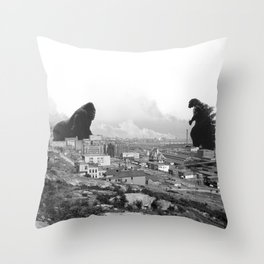 Old time Godzilla vs King Kong Reprised Throw Pillow