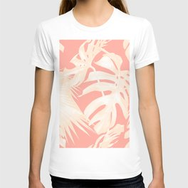 Tropical Coral Pink Palm Leaf Pattern T-shirt