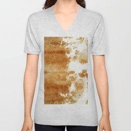 Golden Brown Cow Hide Unisex V-Neck