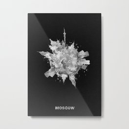 Moscow, Russia Black and White Skyround / Skyline Watercolor Painting (Inverted Version) Metal Print