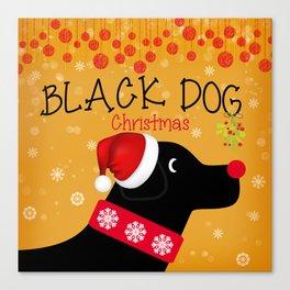 Black Dog Christmas Canvas Print