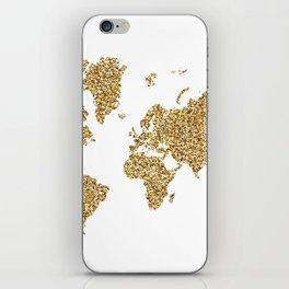 world map white gold iPhone Skin