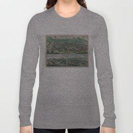 Vintage Map of Jerusalem, Nazareth and Rame Israel Long Sleeve T-shirt