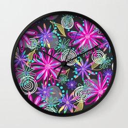Dotty Flowers in hot pink, aqua & grey Wall Clock