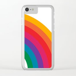 Retro Bright Rainbow - Right Side Clear iPhone Case