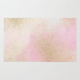 Pretty In Pink And Gold Delicate Abstract Painting Rug
