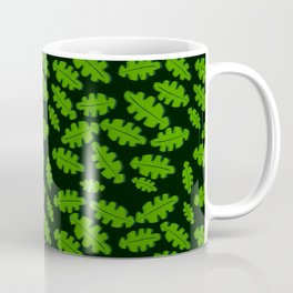 Green Off Set Cut Out Leaf on a Black Background Coffee Mug