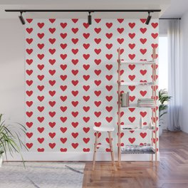 Small Hearts Pattern (red/white) Wall Mural