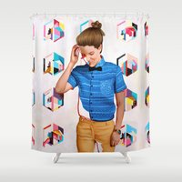 queer Shower Curtains featuring Mon by Kim Leutwyler