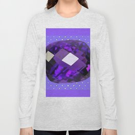 LILAC PURPLE AMETHYST FACETED GEM BIRTHSTONE ART Long Sleeve T-shirt