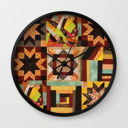 Quilt, Fall Colored Quilt Pattern Wall Clock