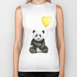Panda with Yellow Balloon Baby Animal Watercolor Nursery Art Biker Tank