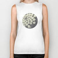 lace Biker Tanks featuring Black and White Queen Annes Lace by Erin Johnson