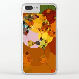 joni - bright abstract design vivid jewel tones red green orange Clear iPhone Case