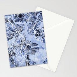 Boston Massachusetts Street Map Stationery Cards