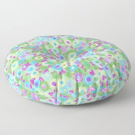 Rose garden roses cottage pink purple green turquoise pattern Floor Pillow