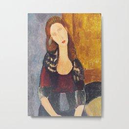 Jeanne Hebuterne woman portrait by Amedeo Modigliani Metal Print
