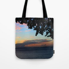 SUNSET BETWEEN TREES. Tote Bag