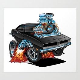 Classic 69 American Muscle Car Cartoon Art Print